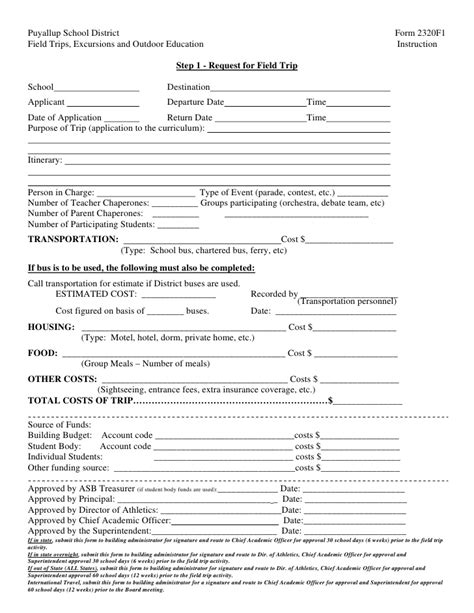Trip Application Form Template by Field Trip Forms