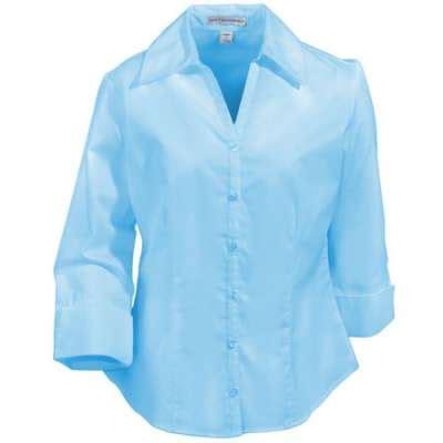light blue blouse for women port authority shirts womens 3 4 sleeve open neck blouse
