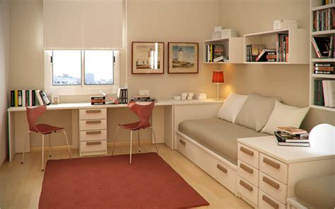 Minimalist-kids-bedroom-with-twin-study-desk-and-sliding-beds