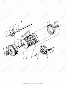 Kawasaki Motorcycle 1973 Oem Parts Diagram For Clutch   U0026 39 71