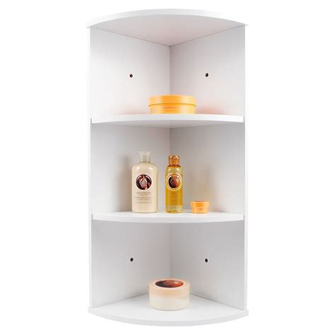 whiite wooden  tier corner wall mounted bathroom storage