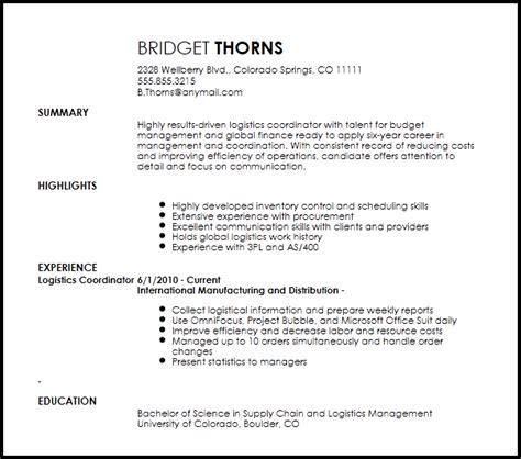 Logistics Coordinator Resume by Contemporary Logistics Coordinator Resume Now