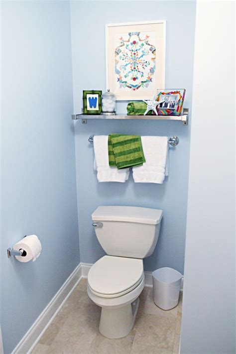 kid bathroom reveal toilets towels  bath shelf