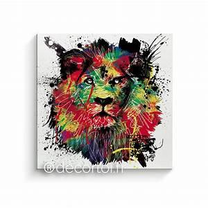 Tableau Lion Noir Et Blanc : tableau lion multicolor fond blanc achat de tableaux sur internet decortoi ~ Dallasstarsshop.com Idées de Décoration