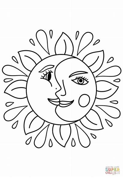 Coloring Moon Trippy Sun Pages Drawing Printable