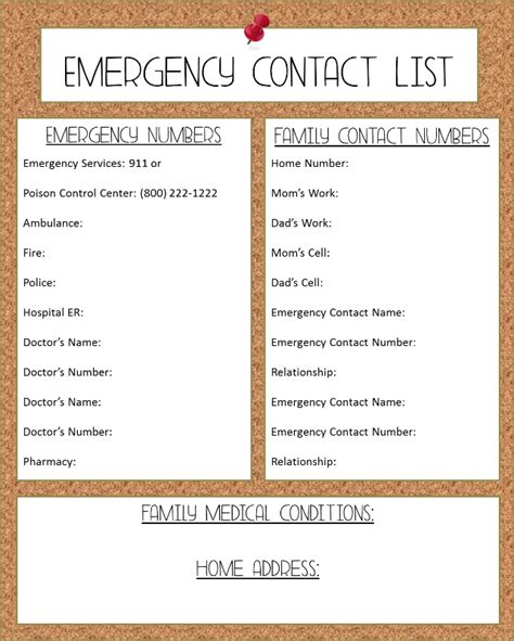 phone numbers list free printable emergency contact list images frompo