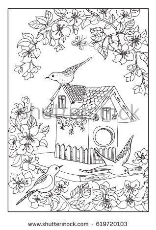 birds house coloring page raskraska house colouring pages coloring pages adult coloring pages