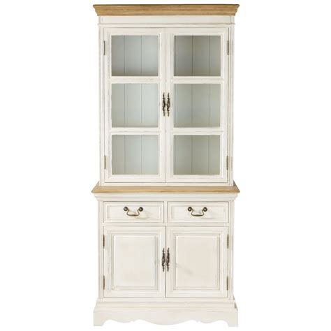 Wooden China Cabinet by Wood China Cabinet In Cream W 85cm L 233 Ontine Maisons Du Monde