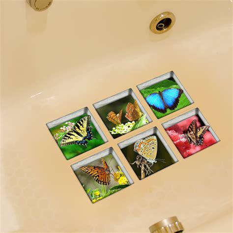bathtub slip stickers pag 6pcs 13x13cm butterfly pattern 3d anti slip waterproof
