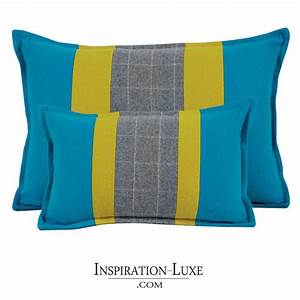 Coussin Gris Et Jaune : coussin rectangulaire de luxe en laine bleu gris et jaune ~ Dailycaller-alerts.com Idées de Décoration