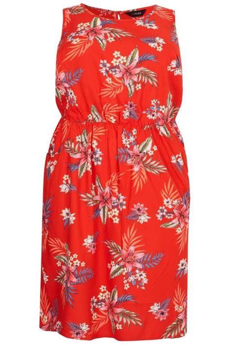 red tropical floral pocket skater dress sizes