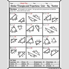 Similarity  Similar Triangles And Proportions Colorbynumber Worksheet