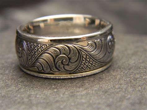 mm wide titanium hand engraved ring   white gold