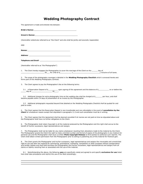 wedding photography contract  word   formats