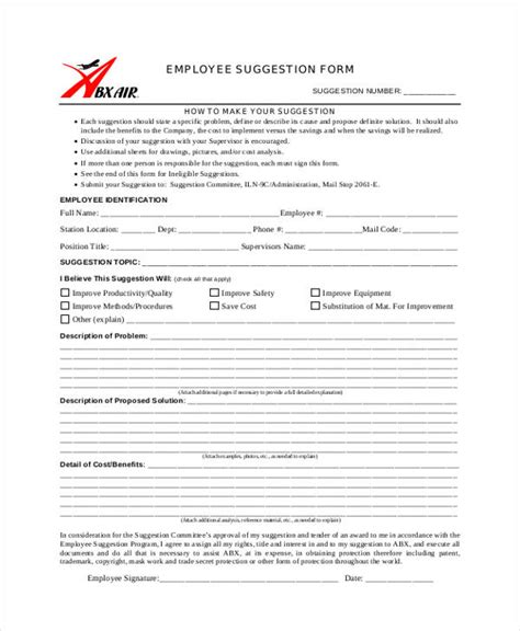 Word Employee Suggestion Form Template by 9 Employee Suggestion Forms Templates Pdf Word