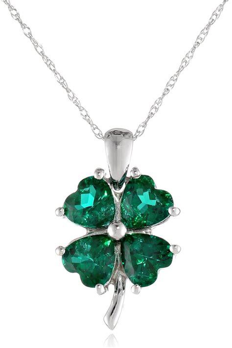 white gold created gemstone  leaf clover pendant