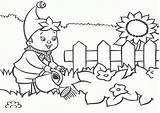 Coloring Garden Watering Boy sketch template