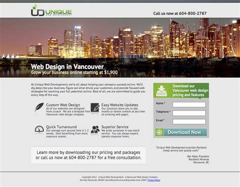 web design landing page 3 web design landing page exles critiqued