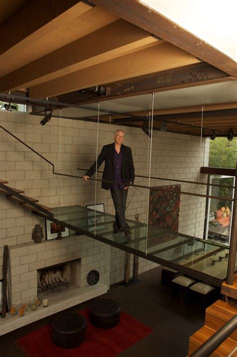 image of glass stair the glass bridge in this loft house stairs ladders