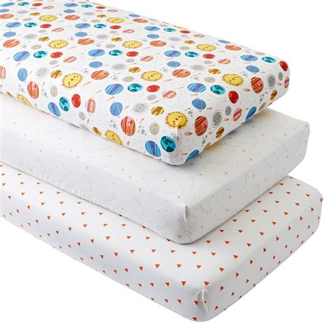 the crib sheets space fitted crib sheets set of 3 the land of nod