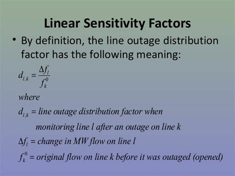 generation shift factor   outage factor