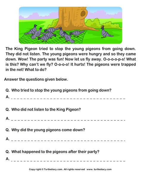 read comprehension hunter and pigeons and answer the