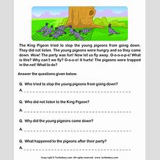 Read Comprehension Hunter And Pigeons And Answer The Questions Worksheet  Turtle Diary