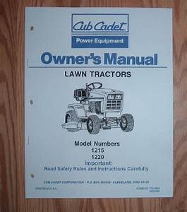 Cub Cadet 1215 1220 Owners Operators Manual 1
