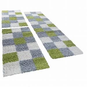 Hochflor Teppich Grün : shaggy l ufer bettumrandung hochflor teppich karo muster in gr n grau 3er set hochflor teppich ~ Markanthonyermac.com Haus und Dekorationen