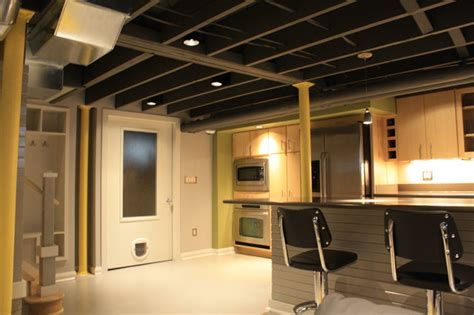 Exposed Basement Ceiling Lighting Ideas by Contemporary Basement Remodel Contemporary Basement