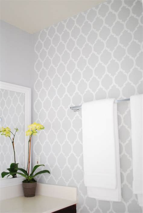 bathroom vanity makeover ideas quatrefoil wall stencil contemporary bathroom