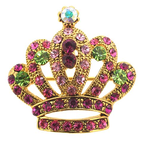 princess swarovski crystal crown brooch  pendant