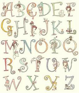 alphabet art print letters cute animals and girls custom With painting alphabet letters