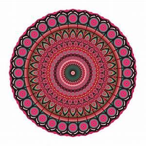 Tapis Rond Mandala : acheter podevache tapis de sol en vinyle rond mandala rouge multi amara ~ Teatrodelosmanantiales.com Idées de Décoration