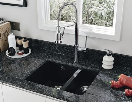 black undermount kitchen sinks black granite composite undermount 1 5 bowl sink howdens 4759