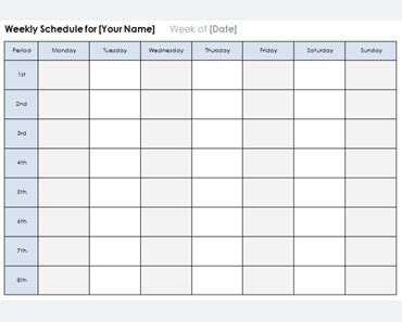 weekly planner template schedule planners word