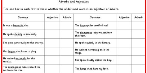 worksheets on identifying nouns verbs adjectives and
