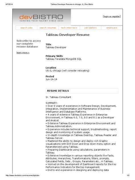 tableau data analyst description exles objectives
