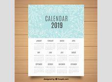 Calendário de 2019 com elementos florais Baixar vetores