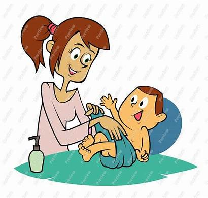 Diaper Changing Change Cartoon Clipart Mother Clip