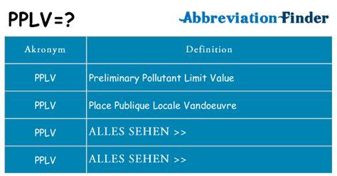 Was bedeutet PPLV? -PPLV Definitionen | Abkürzung Finder