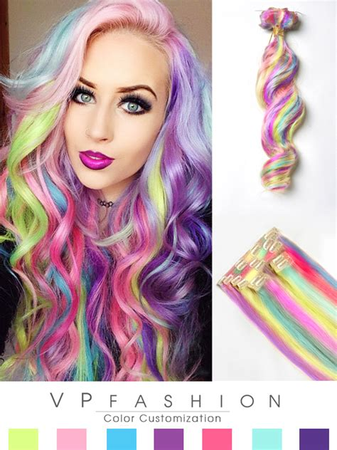 colorful hair extensions amythemermaidx pastel colorful indian remy clip in hair