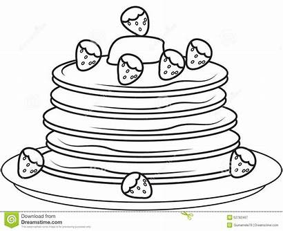 Pancake Pancakes Coloring Pages Strawberries Template Drawing