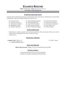 customer service resumes exles free customer service resume summary statement