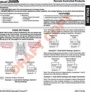 Heathco Wrc6005tx Wireless Lighting Remote Control User