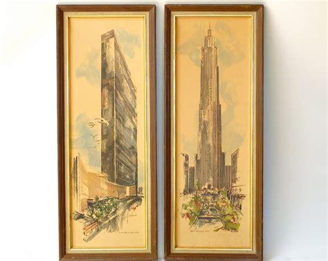 mid century modern new york print pair mad wall