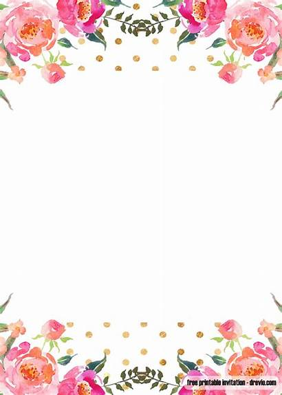 Invitation Floral Pink Templates Invitations Printable Shower