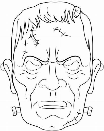 Halloween Mask Frankenstein Outline Coloring Printable Maska