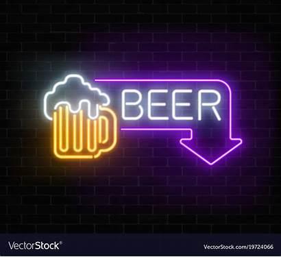 Neon Beer Rectangle Pub Vector Signboard Glowing