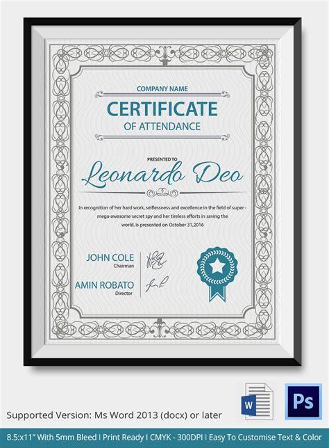 professional editable certificate  attendance template